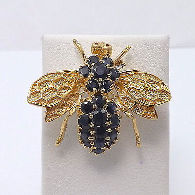 VINTAGE 14K YELLOW GOLD SAPPHIRE BEE  FLY BROOCH PIN/PENDANT 5.3Gr