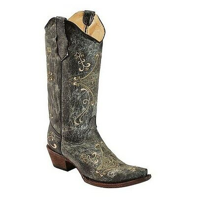 Circle G By Corral Ladies Black/Green Craquel Cowhide Cowgirl Boot L5047