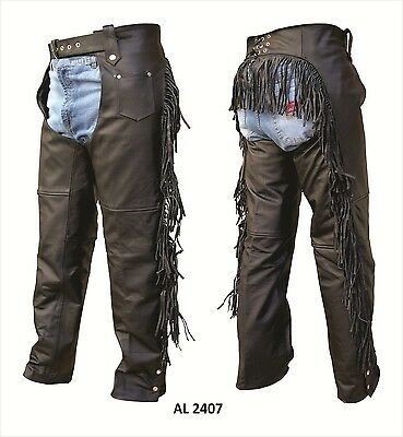 Women Fringe Chaps Soft Genuine Leather Motorcycle Chap Allstate Leather AL 2407