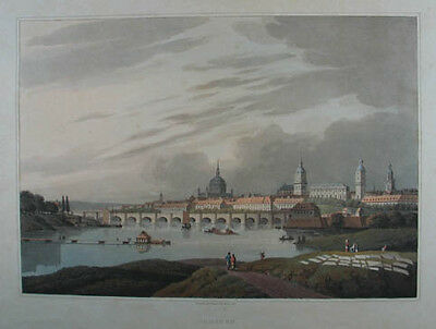 Dresden altkolorierte Aquatinta v. Robert Bowyer 1815