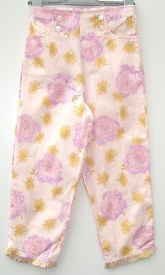 Brand New Designer Brand Girls BABY LULU Pink Floral Cotton Trousers Age 6