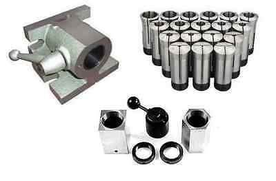 5C H/V ANGLE COLLET FIXTURE & 5pc 5C HEX & SQUARE COLLET BLOCK SET & 15pc COLLET