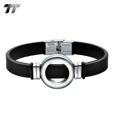 TT Brown Leather 316L Stainless Steel Bangle Wristband (BR105H)