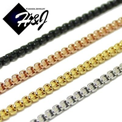 """16-36""""Men Women Stainless Steel 3mm Silver/Gold/Black Box Link Chain Necklace"""