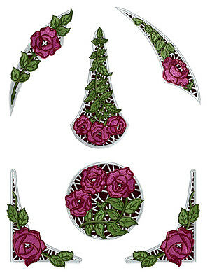 "ABC Designs Roses Lace Inserts Machine Embroidery Designs SET 5""x7"" hoop"