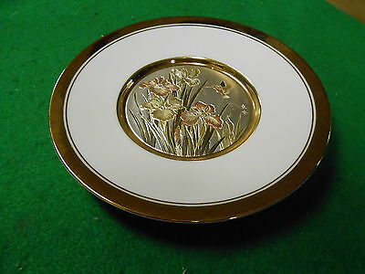 """Beautiful THE ART OF CHOKIN  """"Floral"""" PLATE 24kt Gold Trim...No Display Stand"""