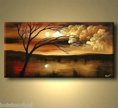"2014 new 24X48 ""MODERN ABSTRACT HUGE WALL ART OIL PAINTING ON CANVAS-tree"