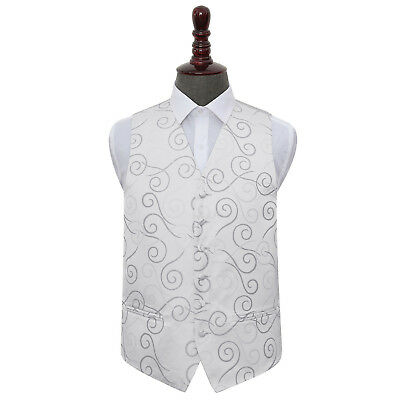 DQT Woven Scroll Patterned Silver Formal Mens Wedding Waistcoat S-5XL