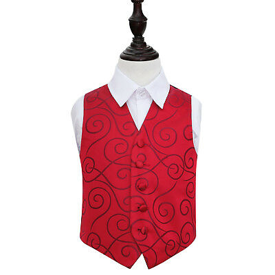 DQT Woven Scroll Patterned Burgundy Boys Wedding Waistcoat 2-14 Years