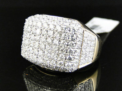 14K Yellow Gold Mens High End Round Cut Vs Pave 3D Diamond Pinky Band Ring 5 Ct