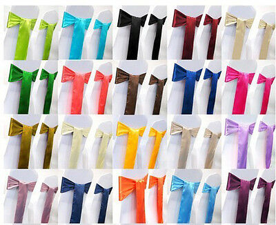 25 pcs Wedding Party Banquet 6x108inch Satin Chair Cover Sash Bow 16 color