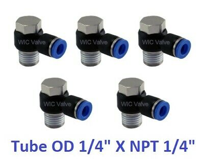"""Universal Male Elbow Connector Tube OD 1/4"""" X NPT 1/4"""" Push In Fitting 5 Pieces"""