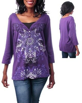 Womens plus top Henley graphic Mandala rhinestone embellished tattoo 1X 2X 3X 4X