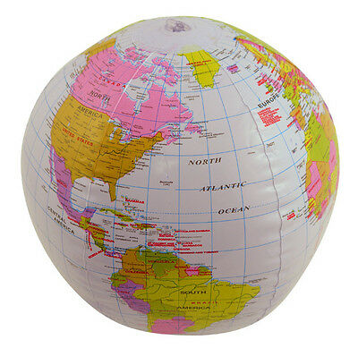 Geography Earth Inflatable Blowup Globe 40cm World Atlas Map Bech Ball Party Toy