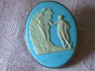 Antique Victorian Wedgwood Jasperware Brooche in Sterling Silver Solid Back