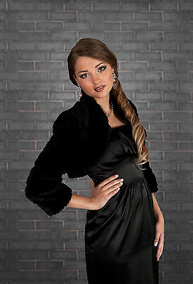 New Womens Wedding Black Faux Fur Shrug Bridal Bolero Jacket Coat  Size S M L Xl