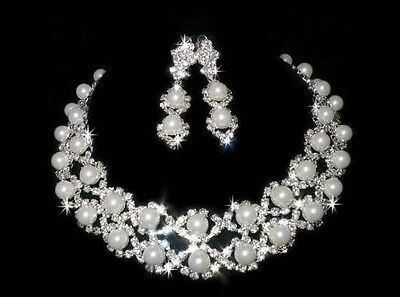 WEDDING FAUX PEARL AUSTRIAN RHIESTONE CRYSTAL NECKLACE EARRINGS SET BRIDAL 01255