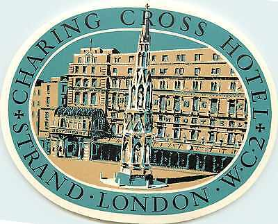Charing Cross Hotel ~LONDON~ Beautiful & Old ART DECO Luggage Label