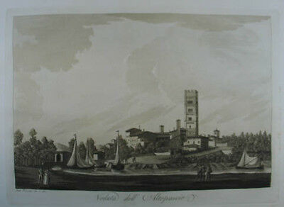 Altopascio Aquatinta in Sepiadruck 1801