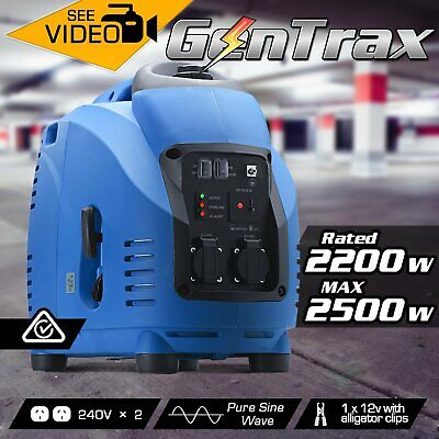 NEW GenTrax Max 2.5kVA KW Rated 2.2 GENERATOR PURE SINE INVERTER PORTABLE PETROL