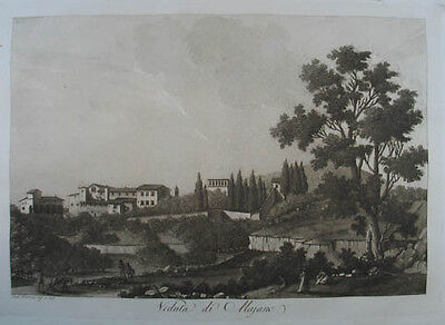 Maiano - Fiesole Aquatinta in Sepiadruck 1801