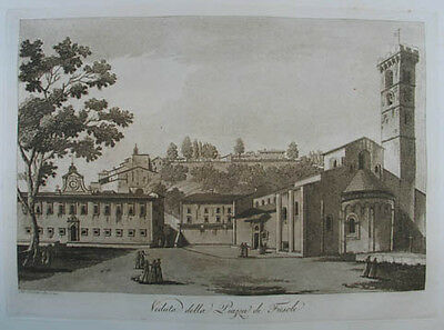Fiesole Aquatinta in Sepiadruck 1801