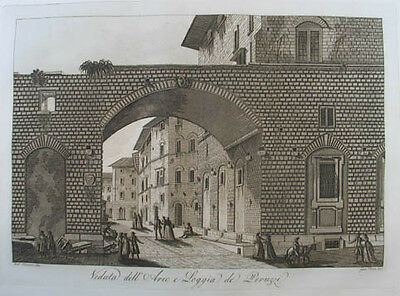 Florenz Aquatinta in Sepiadruck 1801