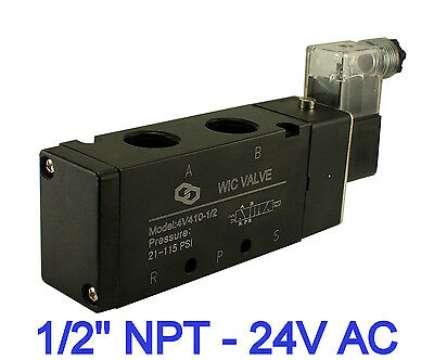 """1/2"""" Inch Pneumatic 4 Way Electric Directional Control Air Solenoid Valve 24V AC"""