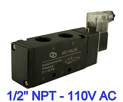 """1/2"""" Inch 4 Way Air Flow Directional Control Electric Solenoid Valve 110V AC"""