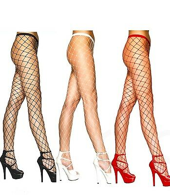 Fishnet Tights Black White Red Purple Fence Net Roller Derby Burlesque Punk Emo