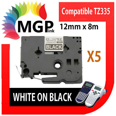 5 X compatible labelling tape for Brother TZ335 12mm White on Black PT-1830 1880