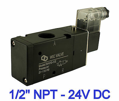 """1/2"""" Inch Pneumatic 3 Way Electric Directional Control Air Solenoid Valve 24V DC"""