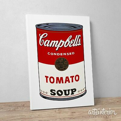 Stampa su tela Canvas ANDY WARHOL Campbell's Soup - Design Quadro Idea Regalo
