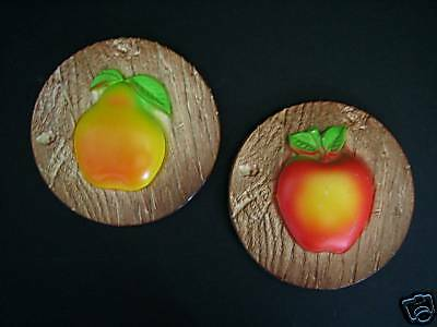MILLER 1975 FRUIT CHALKWARE WALL PLAQUE SET APPLE PEAR