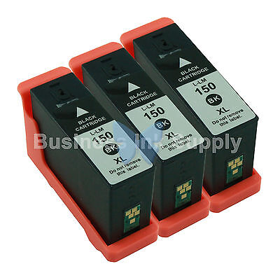 3 BLACK 150XL New High Yield Compatible Ink Cartridge for LEXMARK 150XL 14N1614