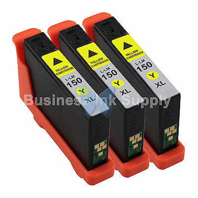 3 YELLOW 150XL New High Yield Compatible Ink Cartridge for LEXMARK 150XL 14N1618