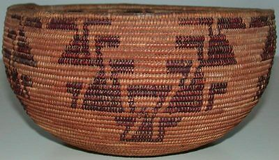 "Authentic Antique Maidu Indian Coil Basket 4.5"" X 8"" Central California"