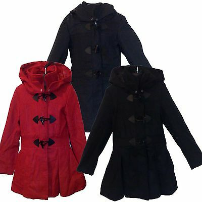 New TRENDY Winter Girls Toggle Coat Tailored Fleece Jacket Grey Black Red 7-13ys
