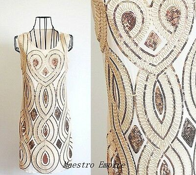 1920s Style Icon Vintage Look Flapper Sequin Deco Gold Gatsby Charleston Dress M