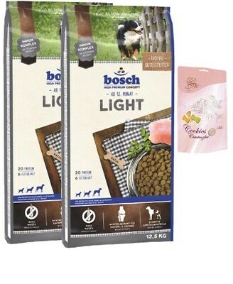 2x12,5kg Bosch  Adult Light + Lolo Hundekekse
