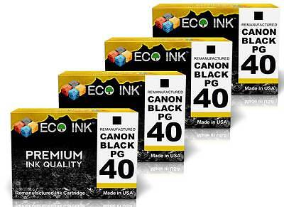 ECO INK © For Canon PG-40 PG 40 Black Ink For PIXMA MP140 MP150 MP160 MP170 4 Pk