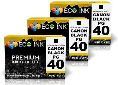 ECO INK © For Canon PG-40 PG 40 Black Ink For PIXMA MP140 MP150 MP160 MP170 3 Pk