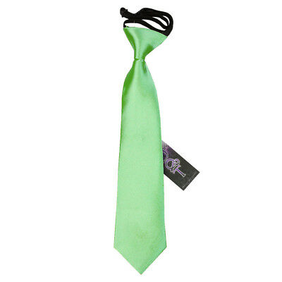 DQT Satin Plain Solid Lime Green Kids Elasticated Pre-Tied Page Boys Tie