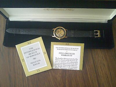 Gold Franklin Mint Mens Skeleton Collectors Watch