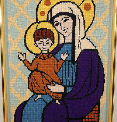 Vintage Needlepoint Embroidery Religious Picture Madonna Holy Mother Mary Child