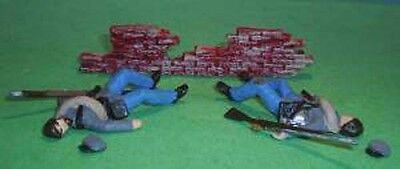 TOY SOLDIERS TIN AMERICAN CIVIL WAR ACW DEAD CONFEDERATE SOLDIERS & WALL #2