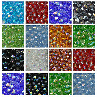 50 Crystal Glass AB Bicone Beads 6mm - Choose COLOUR