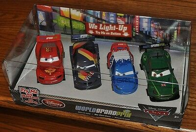 Disney Store Cars 2 Die Cast WGP Light Up 4 pc Set Raoul Max Nigel McQueen NEW