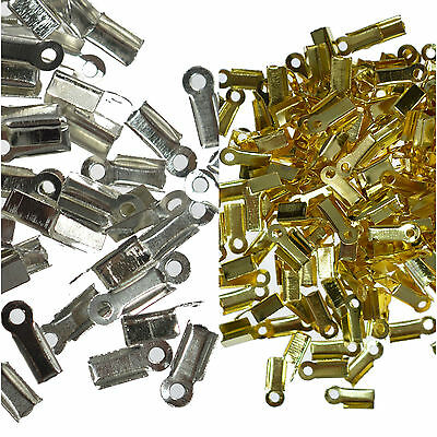 50 Folding Crimp Cord Connectors 10mm Jewellery Making Findings