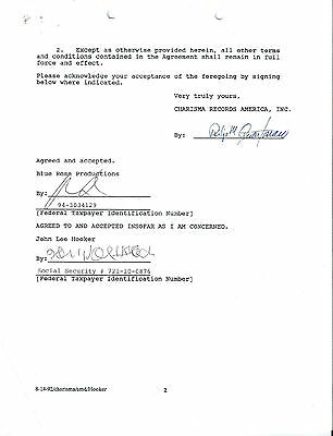 Rare 1992 John Lee Hooker Signed 2 Page Charisma Records Contract!!